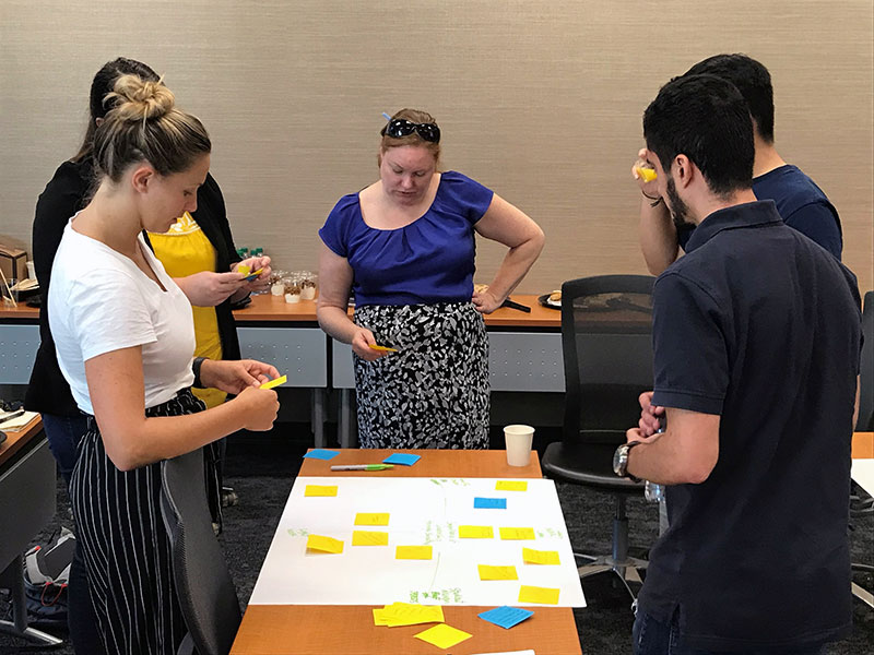 Workshop participants sort user feedback onto an affinity map during the Design Bloc partnership with the Excel certificate program.