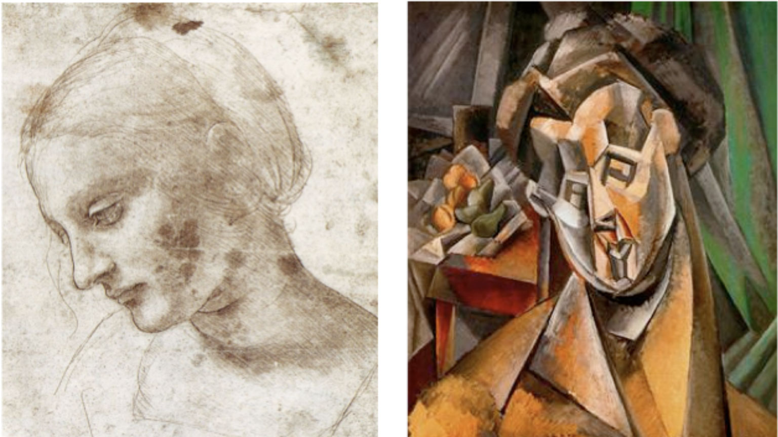Two pieces of art portray the same face of a woman, one using realist style, and the other using abstract geometric style.