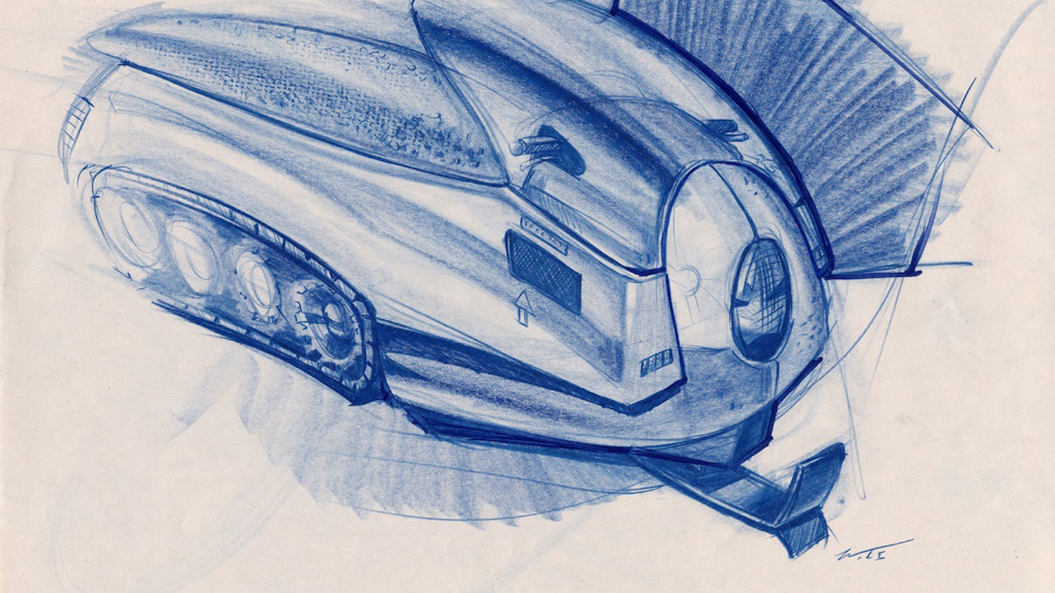 A hand-sketched rendering depicts a concept-vehicle, created for Design Bloc's interdisciplinary capstone design course.