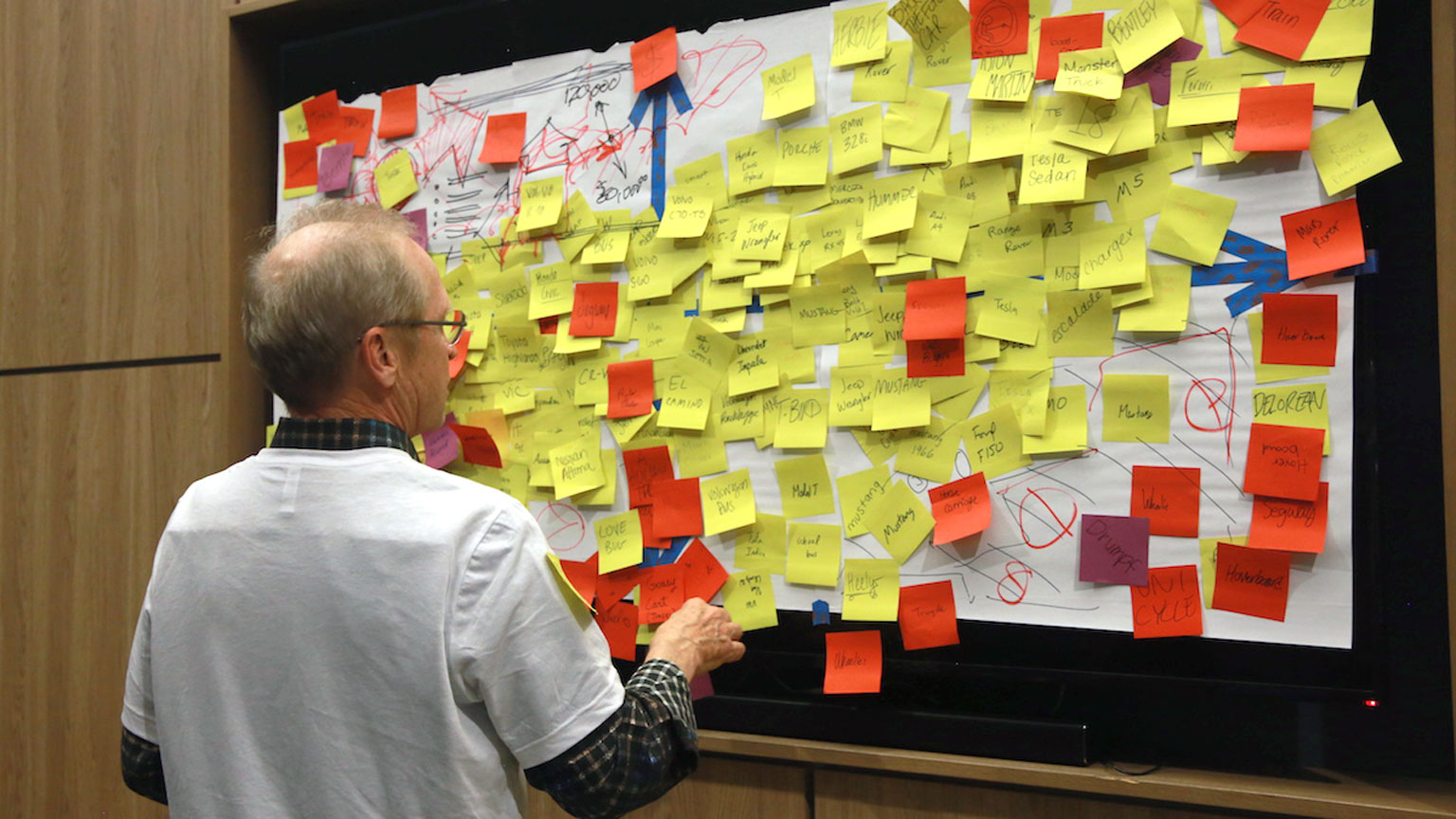 A professor scans over a wall papered with concepts on sticky notes - the result of a class in the Design Bloc course on Design Thinking